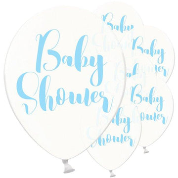 Clear Blue Baby Shower Balloons - 12