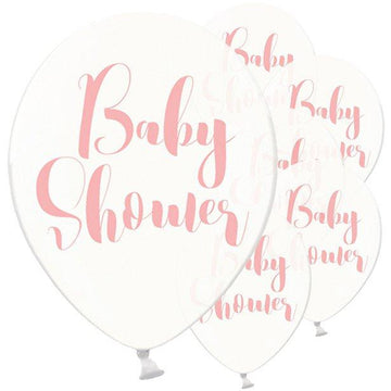 Clear Pink Baby Shower Balloons - 12