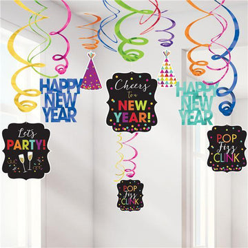 Colourful New Year Hanging Swirl Decorations (30 pk)