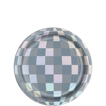 Disco Ball Drop Iridescent Paper Plates - 18cm (8 pk)