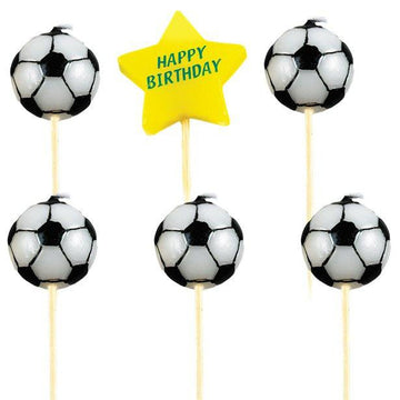 Football Happy Birthday Pick Candles (6 pc)