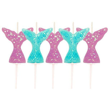 Glitter Mermaid Tail Candles (5 pk)