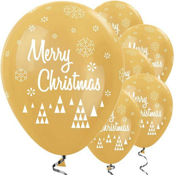 Gold Christmas Balloons - 12