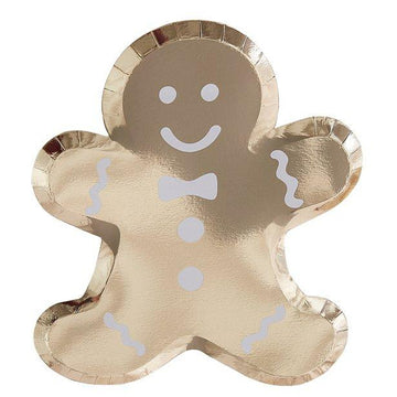 Gold Glitter Foiled Gingerbread Man Shaped Plates - 29cm (8 pk)