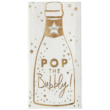 Gold Glitter Foiled Pop The Bubbly Paper Napkins - 16.5cm (16 pk)