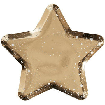 Gold Glitter Foiled Star Shaped Plates - 26cm (8 pk)
