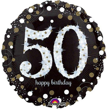 Happy 50th Birthday Gold Sparkling Celebration Balloon - 18