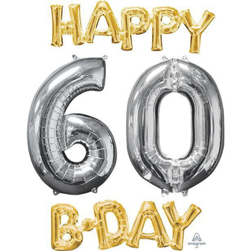 'Happy 60th Birthday' Gold & Silver Foil Balloons - 26