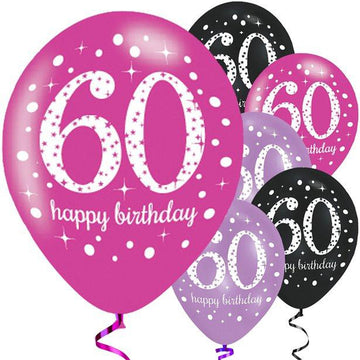 Happy 60th Birthday Pink Mix Sparkling Celebration Balloons - 11