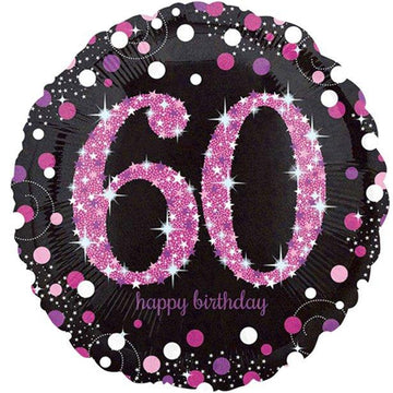 Happy 60th Birthday Pink Sparkling Celebration Balloon - 18