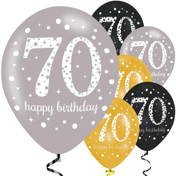 Happy 70th Birthday Gold Mix Sparkling Celebration Balloons - 11