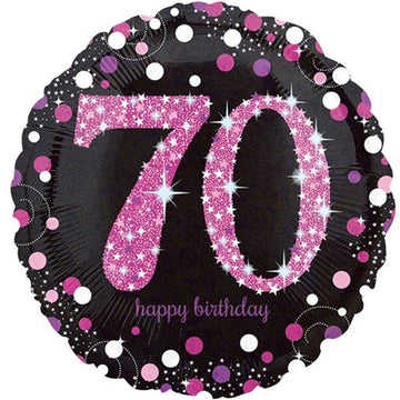 Happy 70th Birthday Pink Sparkling Celebration Balloon - 18