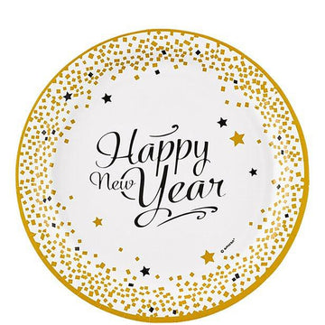 Happy New Year Plates - 23cm (8 pk)
