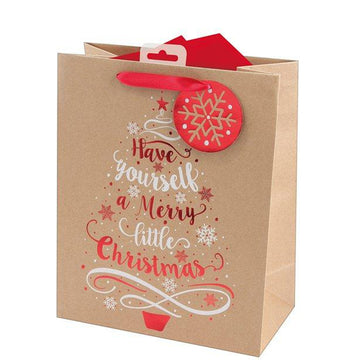 Kraft Tree Large Christmas Gift Bag - 33cm (each)