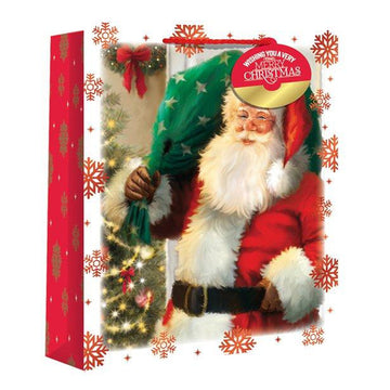 Large Traditional Santa Snowscene Christmas Gift Bag - 33cm (each)