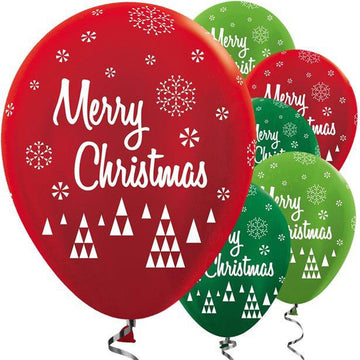 Metallic Red & Green Merry Christmas Balloons - 12