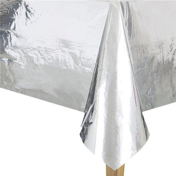 Metallic Silver Foil Tablecover - 1.4m x 2.7m (each)