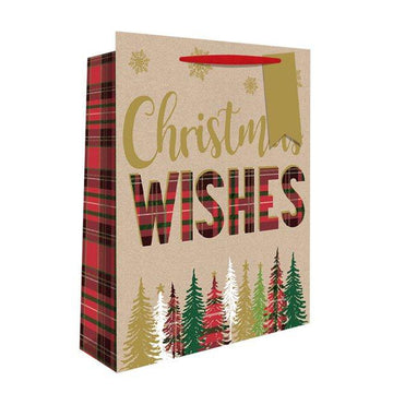 Perfume Tartan Christmas Tree Christmas Gift Bag - 20cm (each)