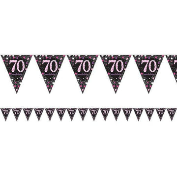 Pink Celebration Age 70 Prismatic Foil Bunting - 4m (each)