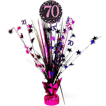 Pink Celebration Age 70 Table Centrepiece - 46cm (each)