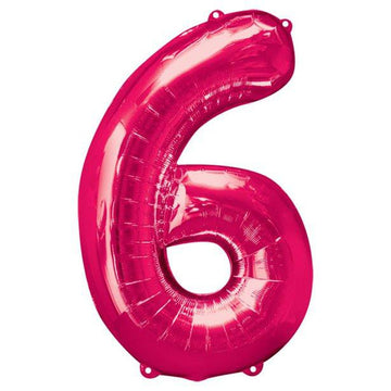 Pink Number 6 Balloon - 34