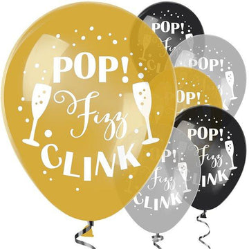 Pop Fizz Clink Balloons - 11 Latex (6 pk)