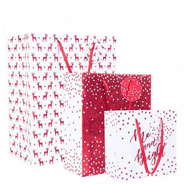 Red Glitter Christmas Gift Bag Set (3 pk)