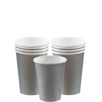 Silver Cups - 266ml Paper Party Cups (8 pk)