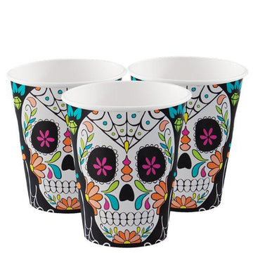 Skull Day of the Dead Cups - 255ml (8 pk)