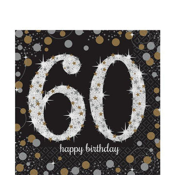 Sparkling Celebration Age 60 Lunch Napkins - 2ply Paper (16 pk)