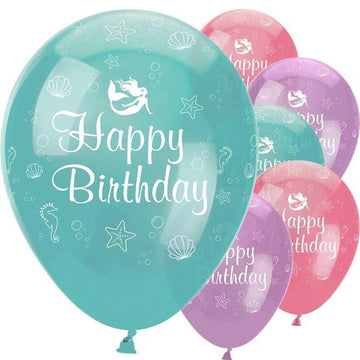 Mermaid Shine 'Happy Birthday' Balloons - 12