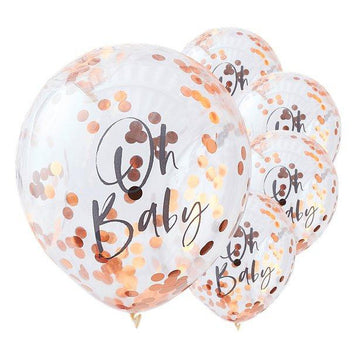 Twinkle Twinkle Oh Baby Rose Gold Confetti Balloons - 12