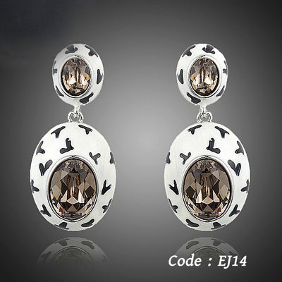 Latest Design Charming Oval Egg Stellux Austrian Earrings