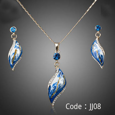 Gold Color Bule Oil Painting Pattern Drop Earrings and Necklace Jewelry Set