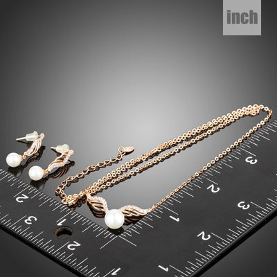 Rose Gold Color Angel Wings Shape Women Jewelry Sets Clear CZ and Simulated Pearl