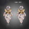 Clear Cubic Zircon With Gold Color Butterfly Drop Earrings