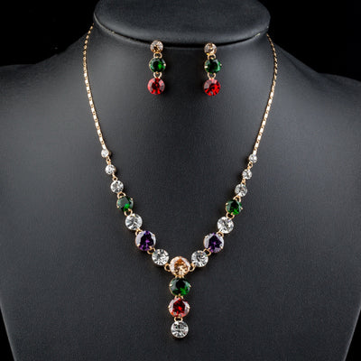 Fancy Marquise Cutting Cubic Zirconia Necklace and Earrings Jewelry Sets