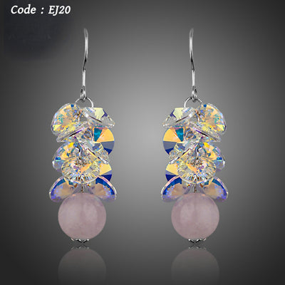 Stellux Austrian Crystal with Pink Beads Drop Earrings