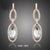 Stellux Austrian Crystal Two Circle Connected Drop Earrings