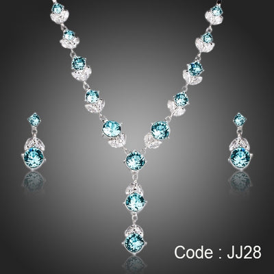 Flower With Light Blue Stellux Austrian Crystal Pendant Necklace and Drop Earrings Jewelry Sets