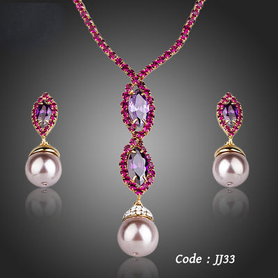 Gorgeous Gold Color Cubic Zirconia Jewelry Set