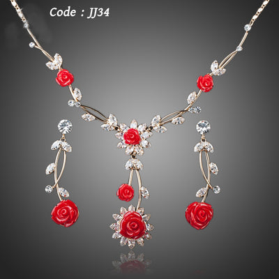 Gorgeous Gold Color Red Jewelry Set