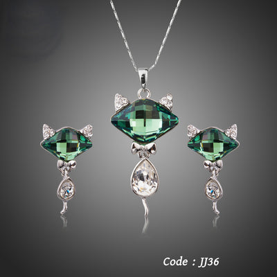 Green Crystal Fox Pendant Jewelry Set