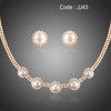 Luxury Women Wedding Pearl Flower Jewelry Sets Round Clear Cubic Zirconia