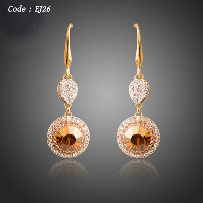 New Arrival Gold Color Round Champagne Crystals Dangle Earrings