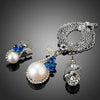 New Pearl Fashion Blue CZ Flower Jewelry Sets for Women
