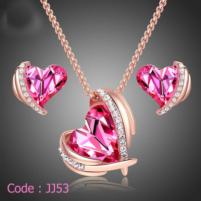 Pink Angel Rose Gold Jewelry Set