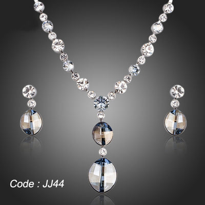 Simple Design Ellipse Stellux Austrian Crystal Pendant Necklace and Drop Earrings Jewelry Sets