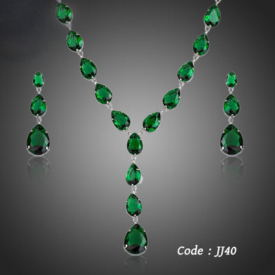 The Poem of Spring Green Cubic Zirconia Jewelry Sets