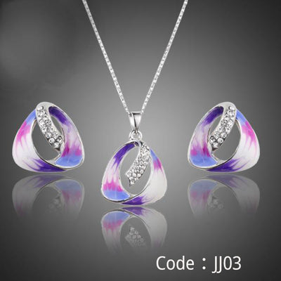 Oil Painting Pattern Stellux Austrian Crystal Stud Earrings and Pendant Necklace Jewelry Sets